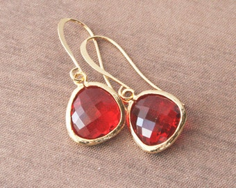 Gold Earrings,Dangle Earrings,Red Earrings,Bridesmaids Gift,Bride Earrings,Bridesmaids Earrings