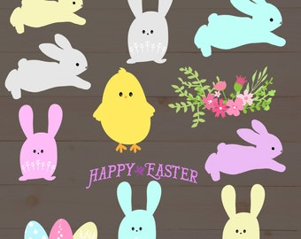 Spring Easter Bunny, Chick and Flower, PNG overlays , clip art
