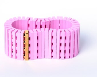 Pink bracelet with real gold plated brick made with LEGO bricks