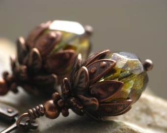 Forest Floor Earrings - Mossy Green Czech Glass and Brown Antiqued Copper