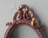 Miniature Wall Mirror Set, Vintage Oval Framed Mirrors, Rose Gold, Cubicle Decor, Baby Shower Gifts, French Country Home Decor