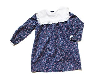 vintage dress girls 80's floral print puritan collar blue pink 1980s childrens clothing size 5