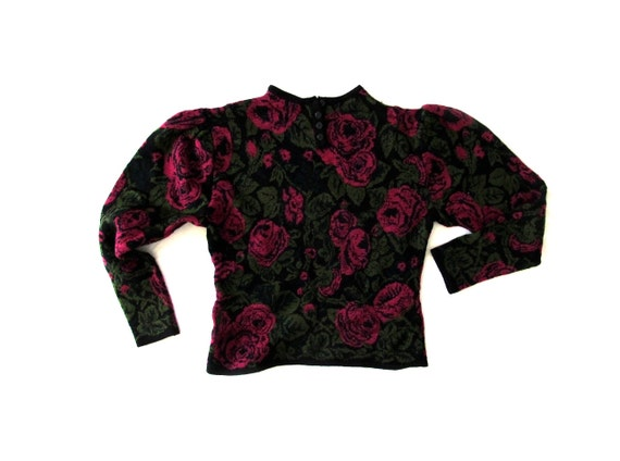 SALE vintage 1980s sweater rose print pink green black size extra small xs s