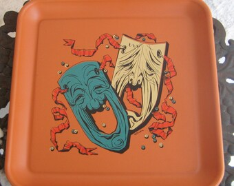 Great Retro tray Dont cover me up Comedy Tragedy Metal Tray
