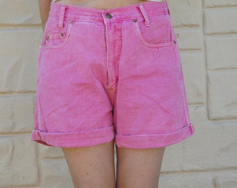 Vintage 80s-90s High Waisted Pink Denim Shorts Cut Off Jeans Hipster Seapunk Beach