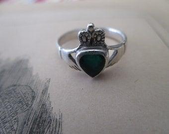 sterling Claddagh Ring - Irish, green stone, size 7.5