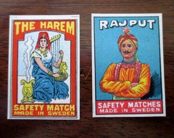2 antique Swedish matchbox papers - unused, labels, 1900s, harem, Rajput