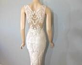 Vintage Style Victorian WEDDING Dress Crochet Ivory LACE Bohemian Wedding Dress Sheer Plunging Back Wedding Gown Sz Medium