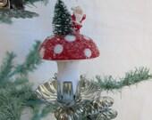 handmade ornament - vintage inspired spun cotton mushroom scene - RED - Santa Claus, mini bottlebrush clip ornament