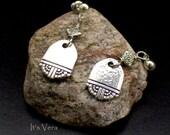 Simple handmade earrings, simple earrings, elegant, post earrings, beads,spoon earrings, silver earrings, small earrings, dangle earrings