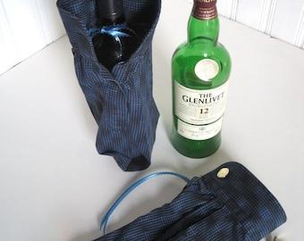Cufflink Presentation Liquor Gift Bag - Upcycled Shirt Groomsmen Gift