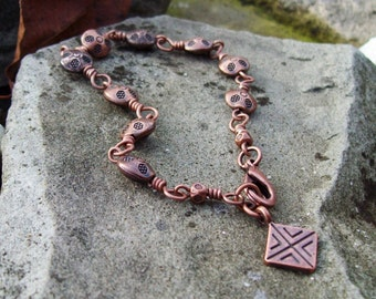 Tribal Bracelet - Copper Beaded Chain Bracelet with Charm - Bohemian Hippie