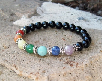Chakra Protection - Multi-Gemstone with Silver - Beaded Stretch Bracelet - Yoga Bracelet