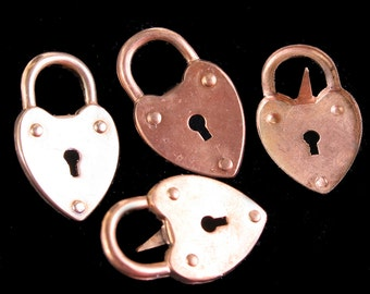 Vintage Brass Heart Lock Brass Hearts Overstock Supplies Destash Lot
