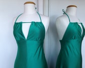 HOLD FOR RENEE Boogie Nights Sexy Halter Style Vintage 70s Dress In A Vibrant Green Color