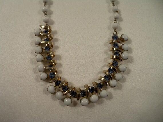 Sassy Vintage Milkglass and Blue Rhinestone Necklace