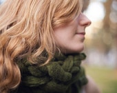 Chunky Earthy Green Soft and Thick Ultimate Scarf Cowl (Ready to Ship)