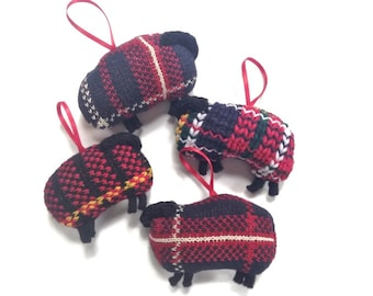 Knitted Sheep Ornament Plaid Lamb Up Cycled Sweaters
