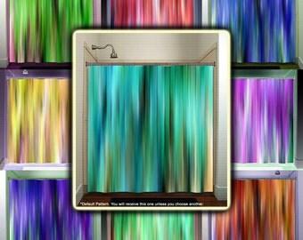 Brown Aqua Teal Turquoise Stripes Shower Curtain Bathroom Decor Fabric Kids  Bath Window Curtains Panels Valance