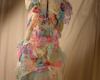 Art to Wear Top Butterfly Garden from my  Palace of Winds Collection Floral Garden Inspired Tribal Boho Cinderella Style