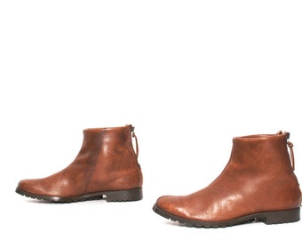 CHELSEA BOOTS womens size 9 rustic brown leather CHELSEA 80s field ankle boots