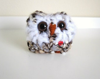 Baby Kitted Owl, Valentine Plush Art Doll, Woodland Home Decor, Hand Knit Love Owl with Red Heart