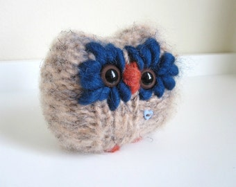 Knitted Love Owl, Hand Knit Woodland Animal, Owl Doll, Wool and Mohair