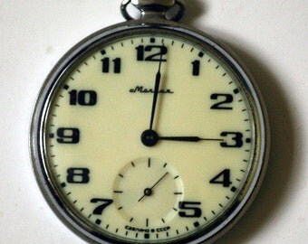 """Mens Pocket Watch """"MOLNIJA"""" Mechanical Working Floral Pattern 1980s from Russia Soviet Union USSR"""
