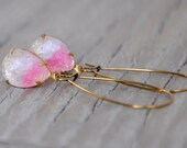 Vintage Rhinestone Textured Glass Pink Hombre Earrings