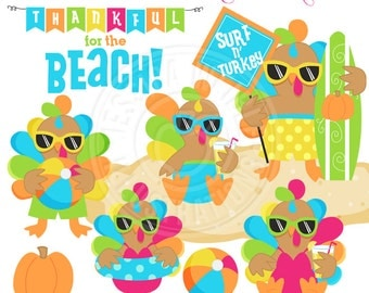 Tropical Turkeys Cute Digital Clipart, Commercial Use OK, Tropical Thanksgiving Clipart, Beach Turkey Graphics, Thanksgiving Clipart