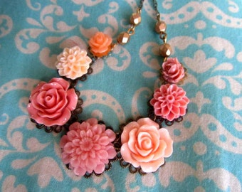 Coral collection necklace with gold beads big rose, little rose, cherry blossom, cream dahlia, peach and coral, peach rose