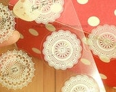 16 White Lace Circle Doily Stickers (1.5 x 1.5in)