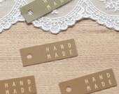20 Handmade Square Tags - Brown (1.8 x 0.6in)