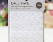 Natural Lace Adhesive Fabric Tape Ver. 2 - 01.White (0.5in)