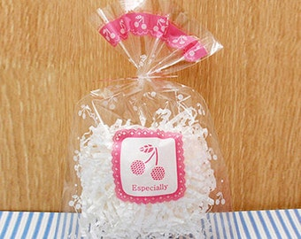 20 Pink Cherry Cellophane Bags (4.7 x 7.5in)