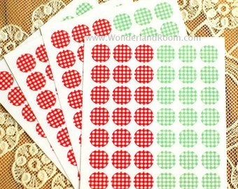 Transparent Circle Deco Stickers - Check 01 (diameter 0.3 in) 4 sheets