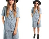 CARA 80s Sweet Solid Soft Pale Blue Denim Jean Hip Jumper Dress Button Up Indie Glam Chic Preppy Day Party Dress Small Medium S M Brat Pack