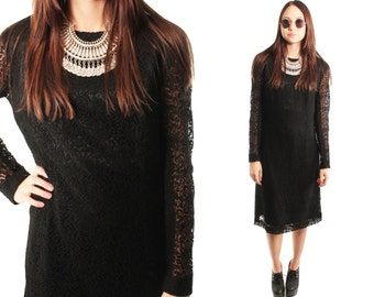 AVA 70s Gorgeous Black Lace Retro Sheer Long Sleeve Hippie Glam Indie Gypsy Twiggy Goth Formal Holiday Fancy Chic Cocktail Dress Medium L