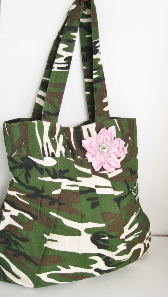 Unique Handmade camouflage green and pink flower purse