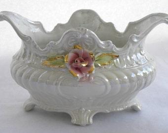 French Jardiniere Lusterware Planter, Pearlized Centerpiece Bowl Urn Vase, Footed Victorian Planter Vase, Opalescent Planter