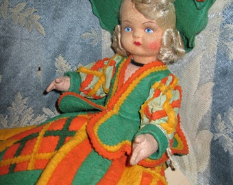 Lenci Type Doll with Blond Silk Hair and Green Felt Outfit