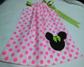 Pink Neon Dots Minnie Theme Little Girl Pillowcase Dress with Applique  Custom Sizes NB-6yrs