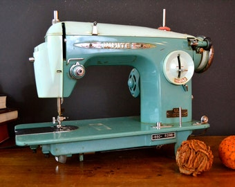 Amazing Vintage White Turquoise Sewing Machine, Aqua Solid Metal Machine