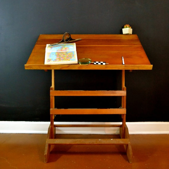 wood vintage drafting table wood drafting table adjustable