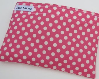 Reusable Eco Friendly Sandwich or Snack Bag Pink Polka Dots