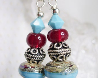 Turquoise and Red Desert Jewels Lampwork Earrings  with Swarovski crystals and 925 SS components