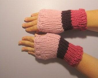 Fingerless Gloves - Pink and Purple Hand Knit Fingerless Gloves
