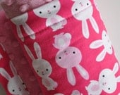 Baby Girl Hot Pink Bunny Bunnies Rabbit and Purple Minky, XLARGE Snuggle Size Baby Blanket