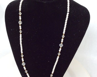 Pearls and crystals necklace single strand vintage necklace very beautiful
