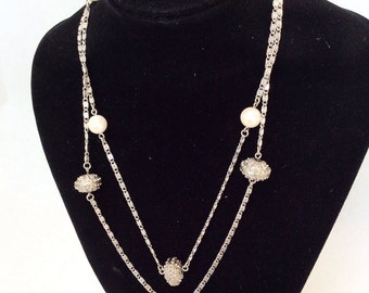 vintage pearls necklace long silver tone very long infinity chain with textured beads AVON